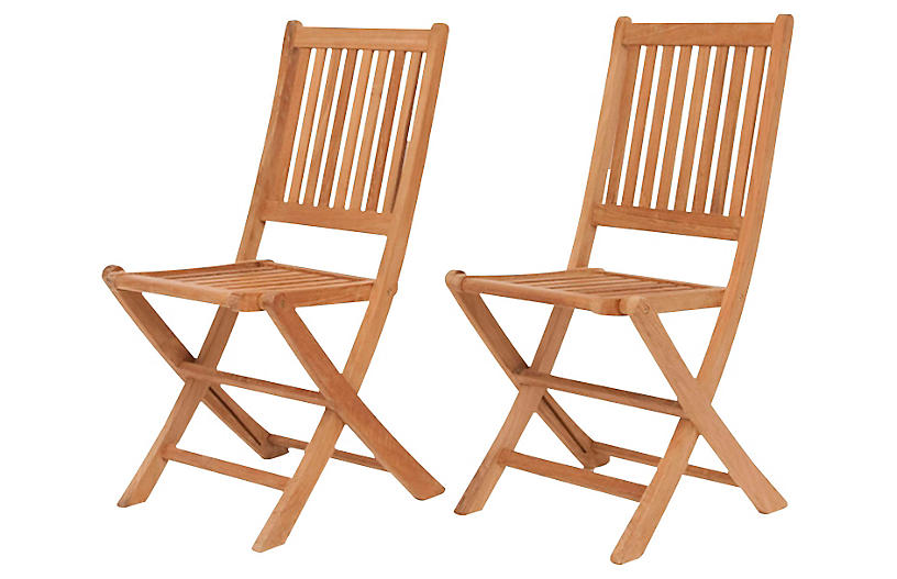 London Outdoor Teak Folding Chairs, Pair