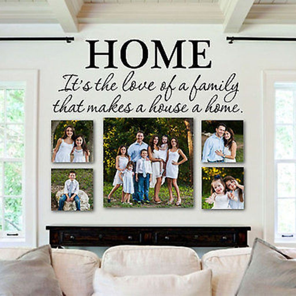 Love of Family Makes a House a Home Quote Vinyl Wall Decal 28″ Wide by 10″ High – Decor Designs Decals