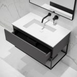 Lusso Modus Matte Anthracite and Black Steel Framed Bathroom Vanity Unit 900