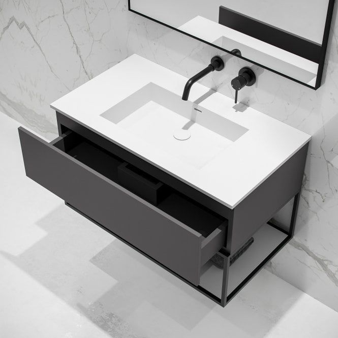 Lusso Modus Matte Anthracite and Black Steel Framed Bathroom Vanity Unit 900