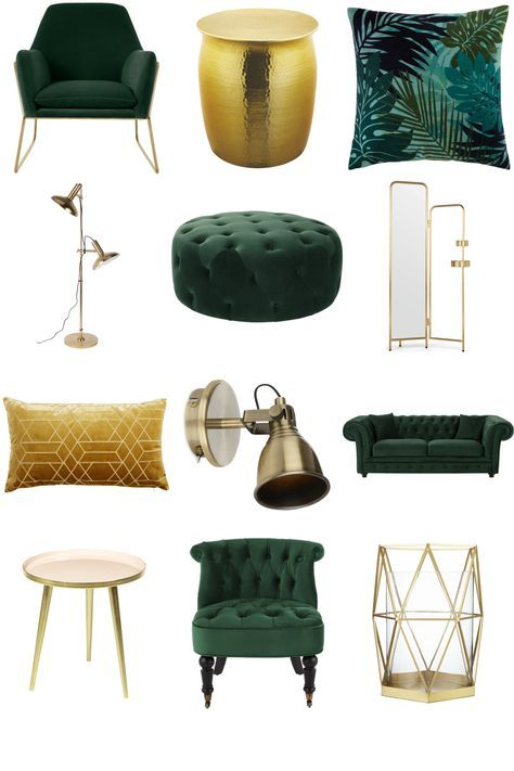 Luxe Green and Gold Living Room – Furnishful's Living Room Ideas – Inspiration Boards | Furnishful