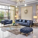 Luxury Design Blue Sofa Set