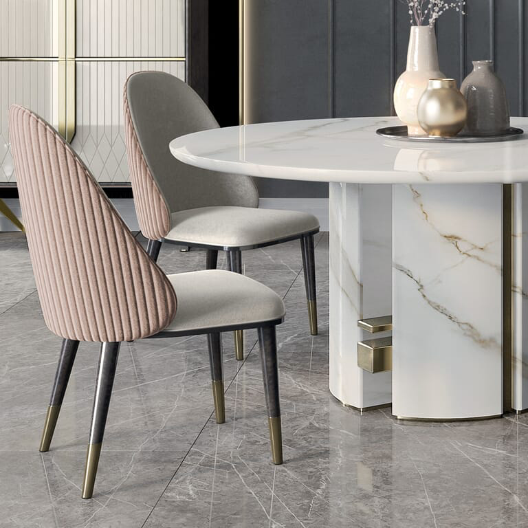 Luxury Italian Designer Contemporary Round Marble Dining Table Set – Juliettes Interiors