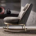 Luxury Italian Quilted Nubuck Leather Rocking Chair | Juliettes Interiors