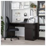 MALM Desk - black-brown - IKEA