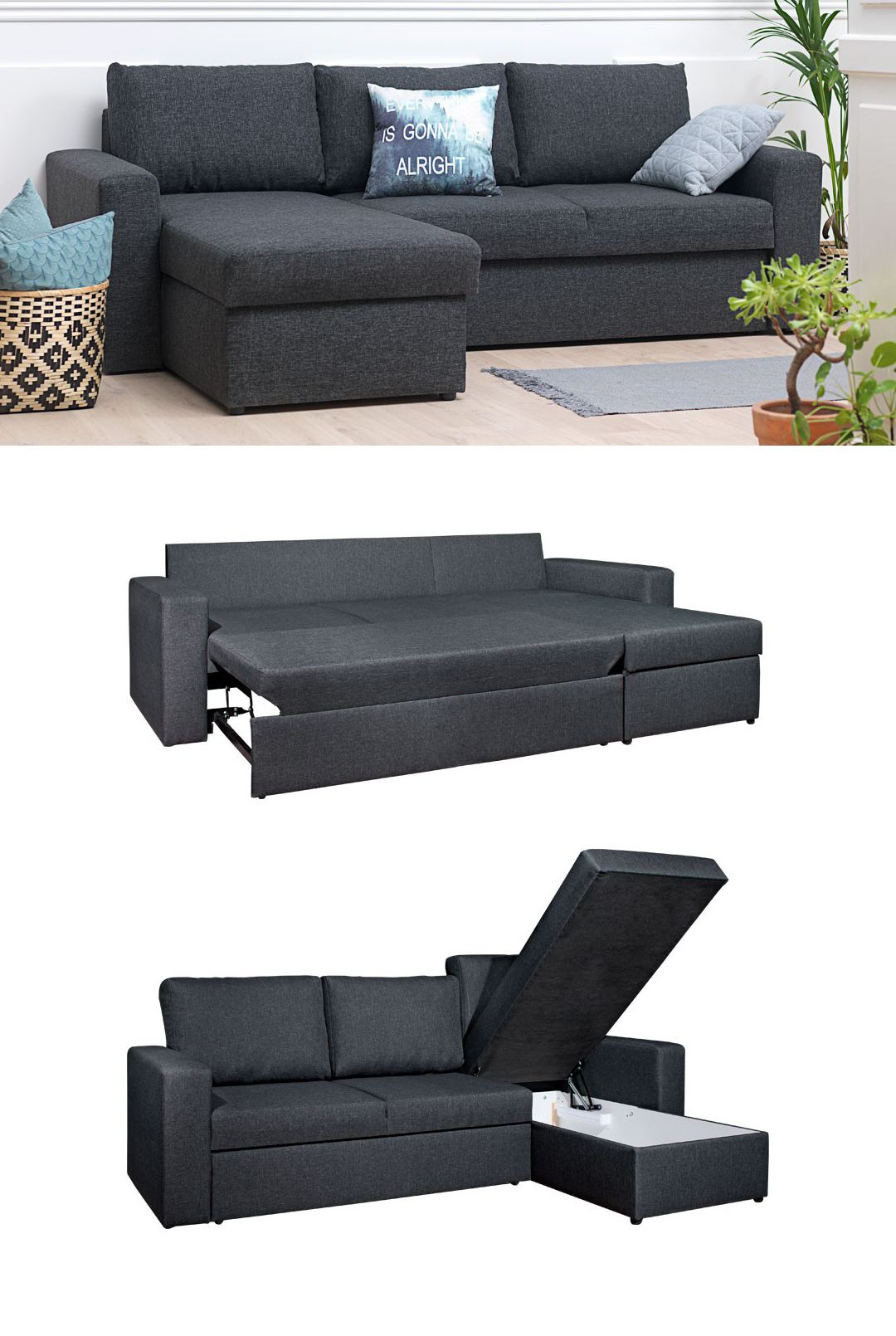 MARIAGER Sofa Bed (Dark Grey)