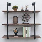 MBQQ Industrial Iron Pipe Shelf DIY with Wood 36.2in Retro Storage Book Shelves Wall Mounted Shelving Hung Bracket 3-Shelf Organizer