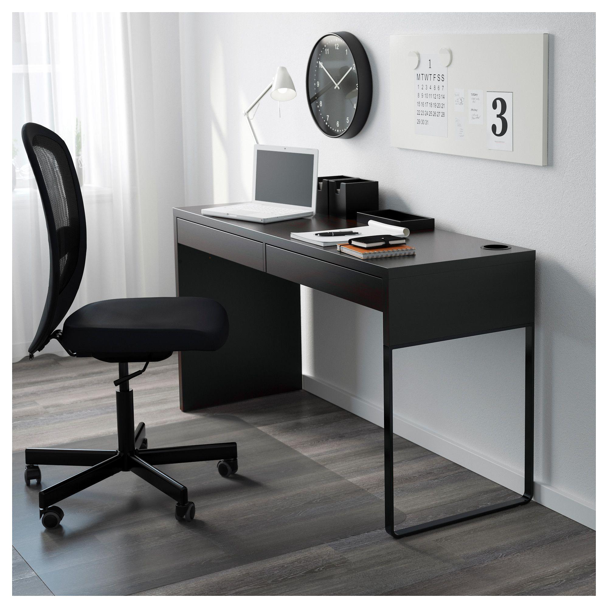 MICKE Desk – black-brown – IKEA