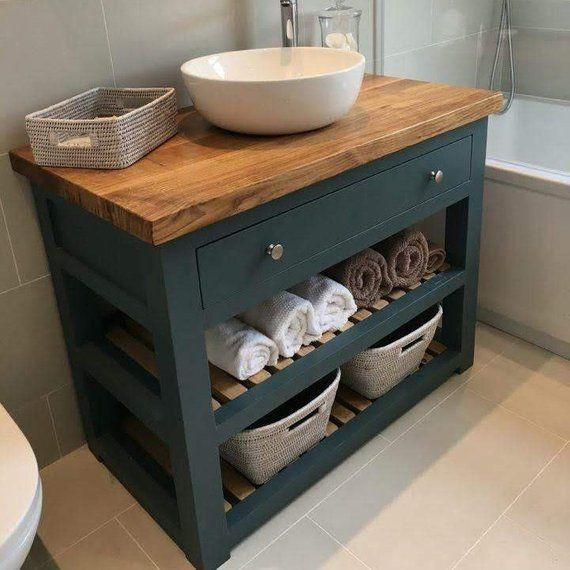 Made to Order Bathroom Vanity Unit Washstand, with Solid Oak top. Handmade and Bespoke. Base Made in Hardwood.