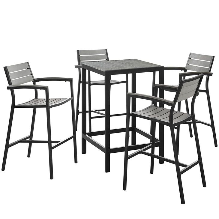 Maine 5 Piece Outdoor Patio Bar Set in Brown Gray – East End Imports EEI-1755-BRN-GRY-SET