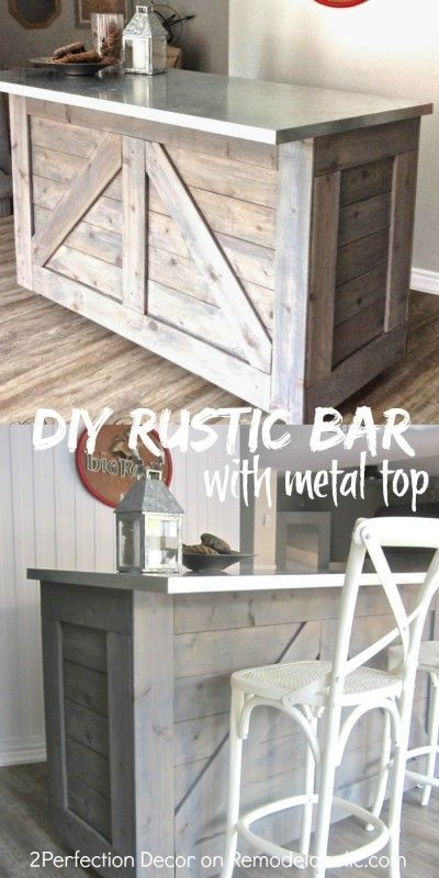 Make a rustic bar/kitchen island from an old base cabinet