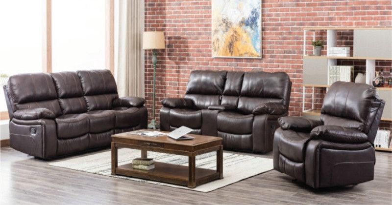 Malibu-ESP-2PC 2 pc Malibu espresso leather gel sofa and love seat with recliner ends