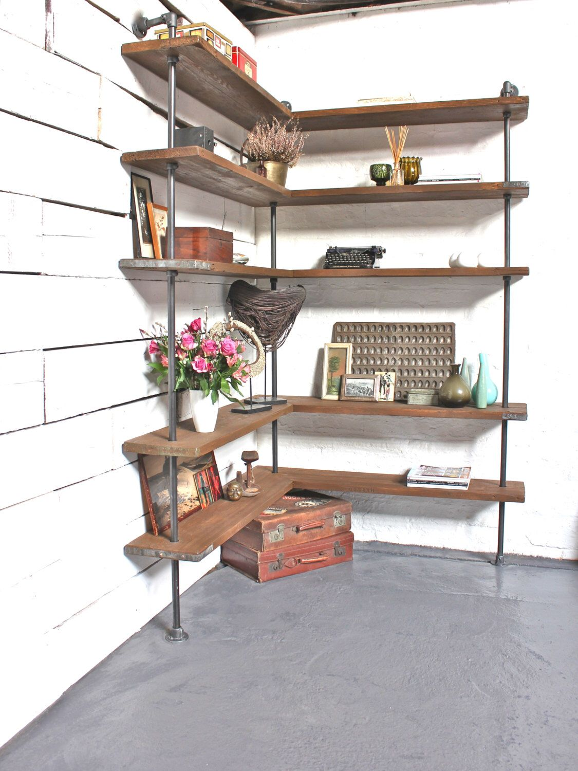 Malin Floor and Wall Mounted Mitred Corner Shelving Unit made with Reclaimed Scaffolding Boards and Dark Steel Pipe