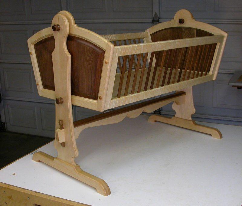 Maple & Walnut Heirloom Baby Cradle