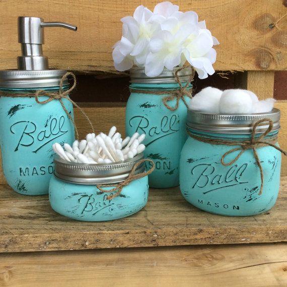 Mason Jar Bathroom Set. Home Decor. Beach Bathroom Decor. Bathroom Set. Rustic Decor. Country. Shabby Chic. Wedding/House Warming Gift.