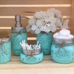 Mason Jar baño set, decoración de tarro de albañil, decoración del baño, regalo de ducha de novia, dispensador de jabón, decoración del país, regalo de bienvenida, baño rústico