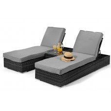 Maze Rattan Garden Furniture Grey Orlando Sunlounger set
