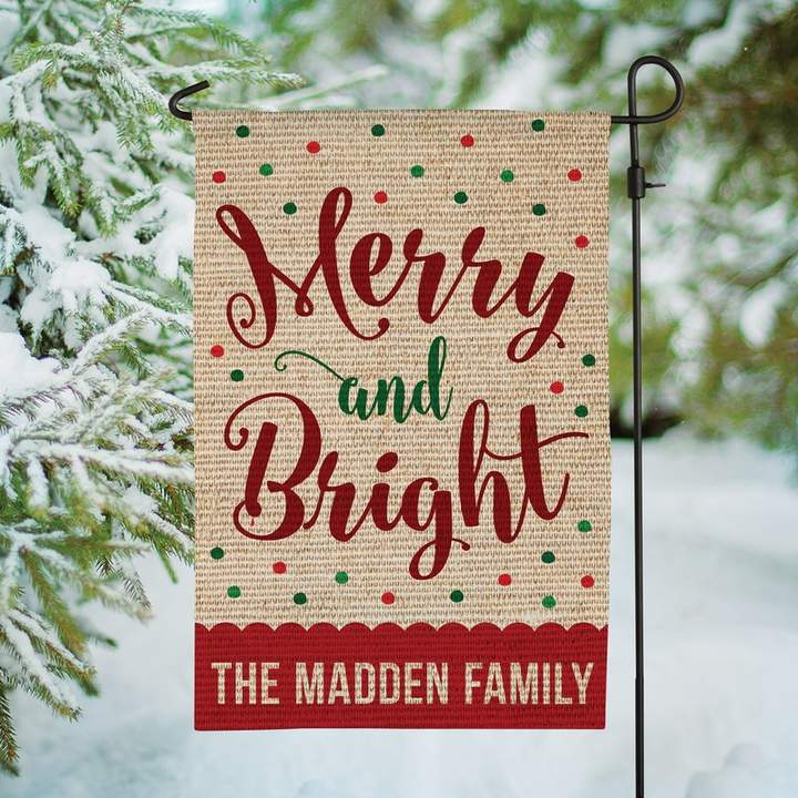 Merry and Bright Personalized Burlap 1.5′ x 1′ Garden Flag | Joss & Main