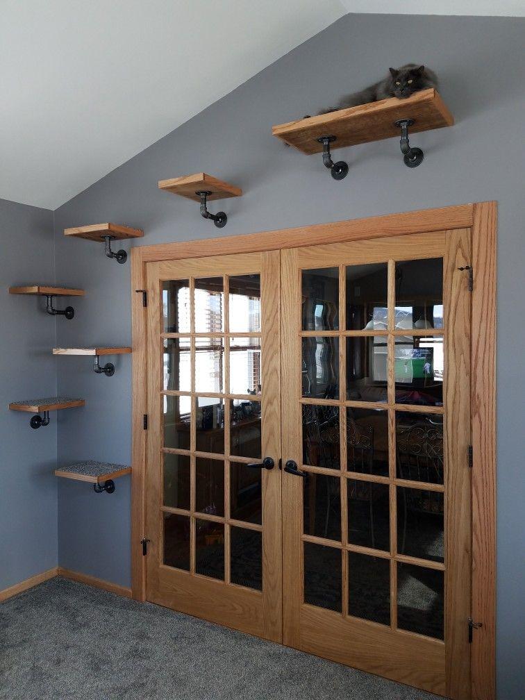 Metal pipe wall mounted cat shelves