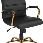 Mid-Back Leather Executive Swivel Office Chair with Chrome Base and Arms