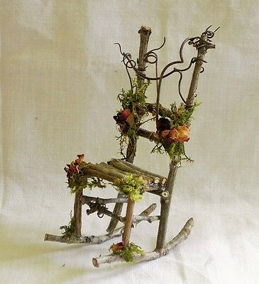 Miniature Dollhouse FAIRY GARDEN Furniture Rustic Iron Rocking Chair & Table Set  | eBay