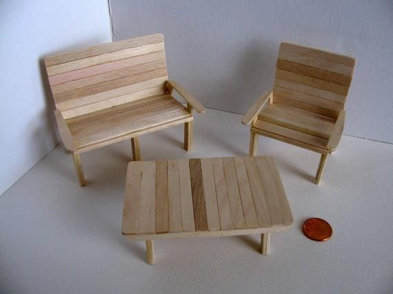 Miniature Garden Furniture Set / Loveseat, Chair & Table / 1:12 Scale Doll House Garden Furniture / Handmade with Birch / Unfinished