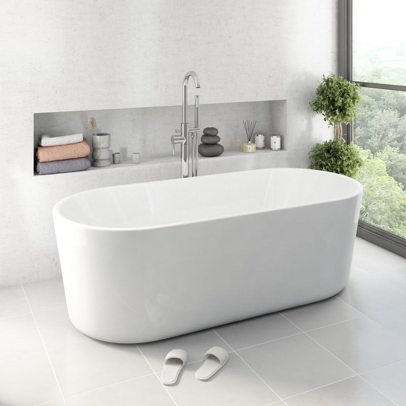 Mode Tate luxury bathroom suite with freestanding bath with ProofVision 19 inch waterproof bathroom TV