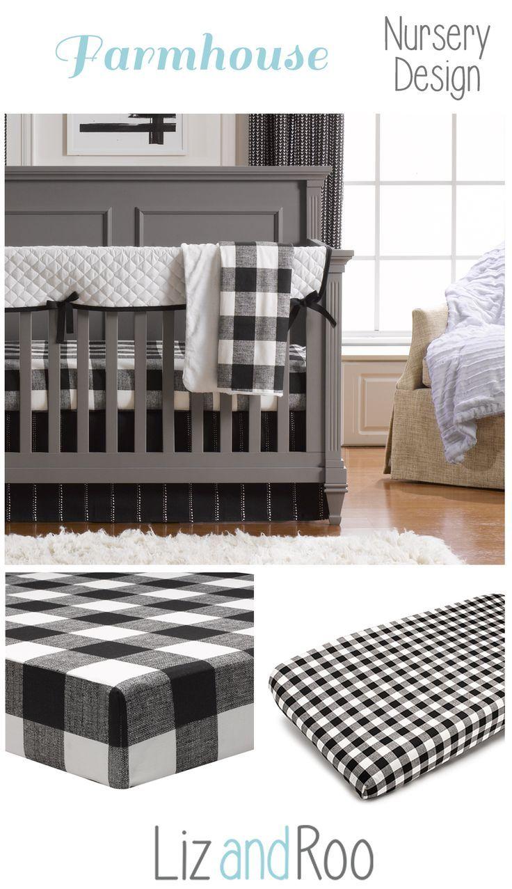 Modern (Black and White) Bumperless Crib Bedding | Liz And Roo