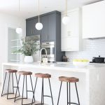 Modern Classic Project: open shelving kitchen, wood shelving, brass hardware, oa...