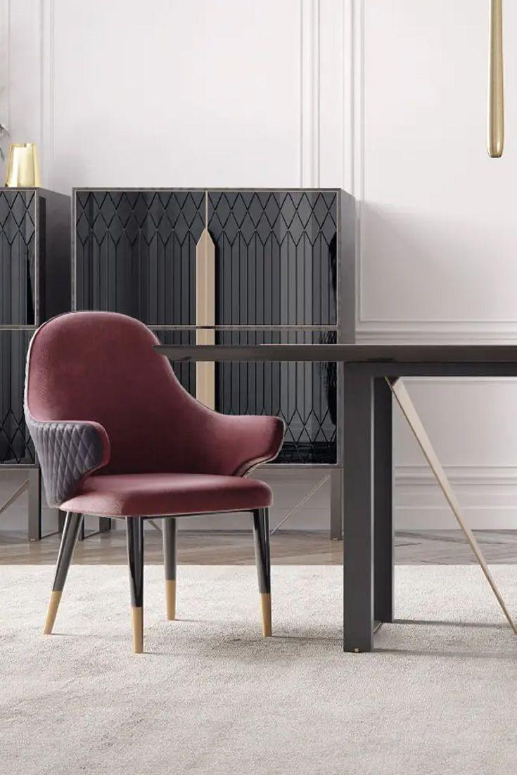Modern Italian Designer Luxury Veneered Dining Table Set