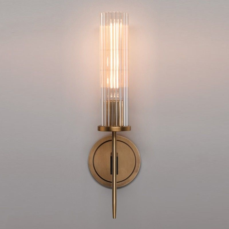 Modern Minimalist 1-Light Cylinder Clear Ribbed Glass Shade Wall Sconces in Gold&Black