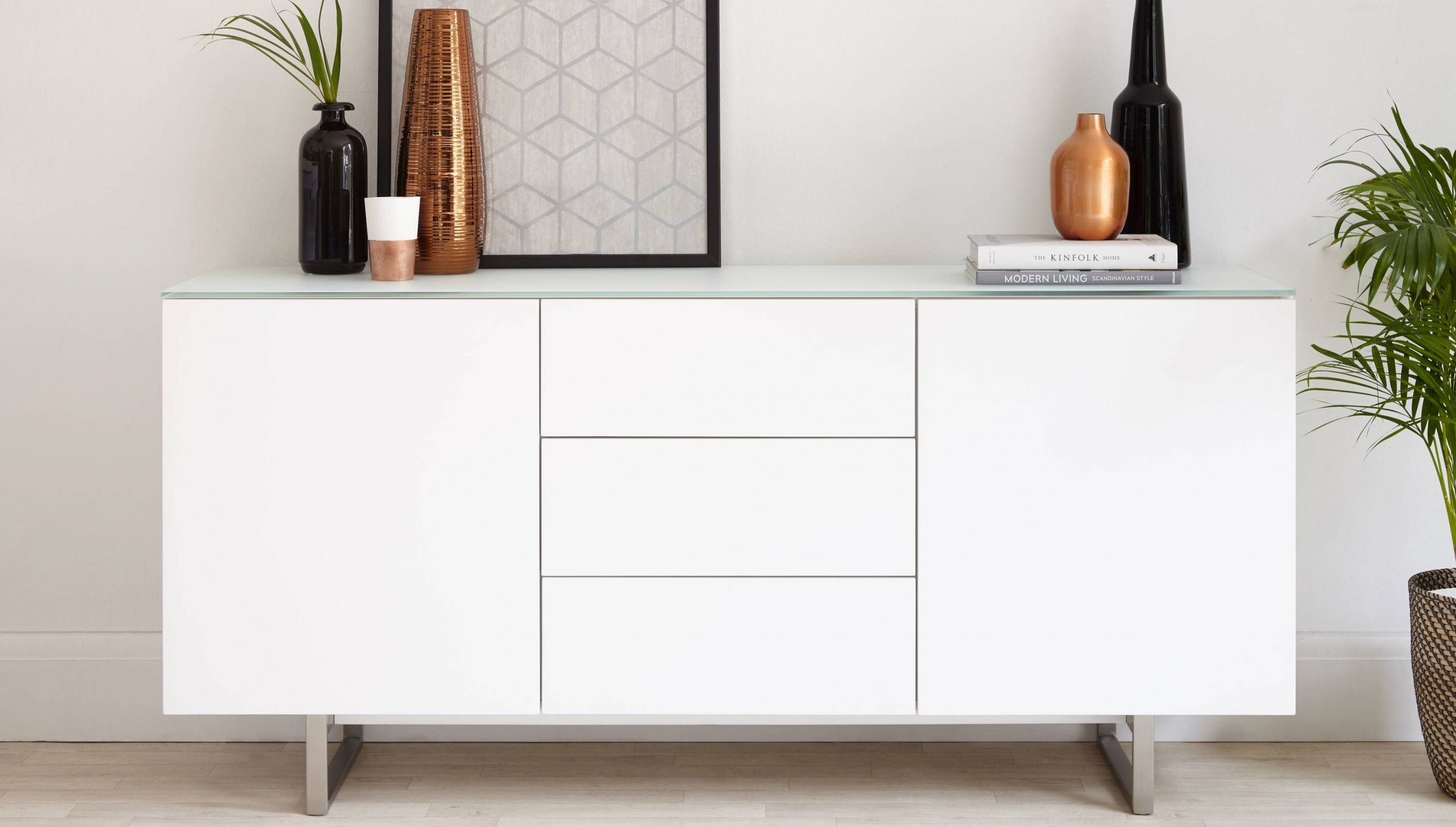 Modern White and Glass Sideboard with Storage | UK Delivery