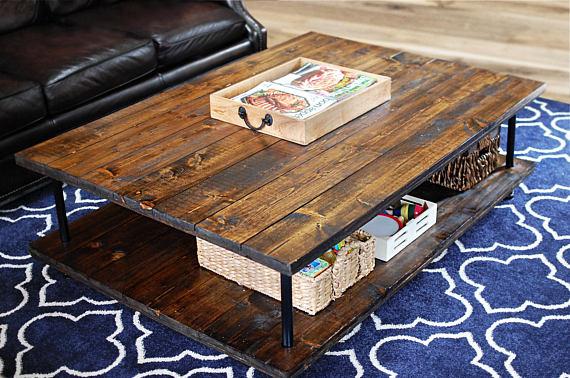 Modern Wood Coffee Table, Rustic Coffee Table, Farmhouse, Wood Furniture, Industrial Pipe Legs, Rustic, Modern, Wood Table – FREE Ship