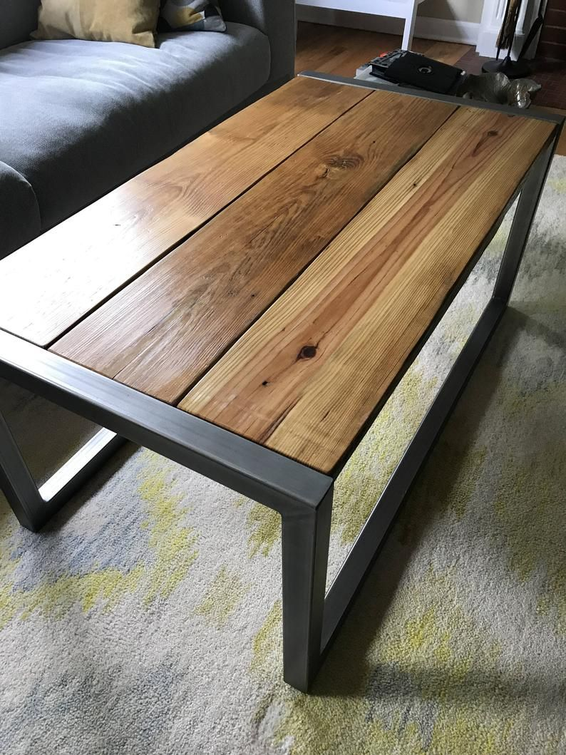 Modern and rustic reclaimed wood coffee table