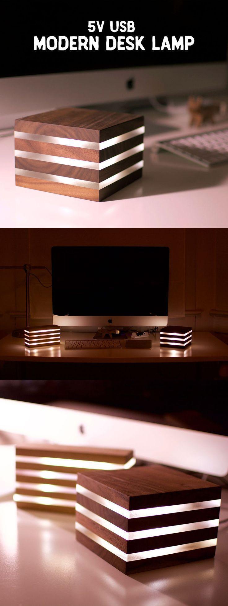 Moderne LED Schreibtischlampe… Betrieb avec 5V USB – # 5V # Betrieb avec #LE… #WoodWorking – Wood Design
