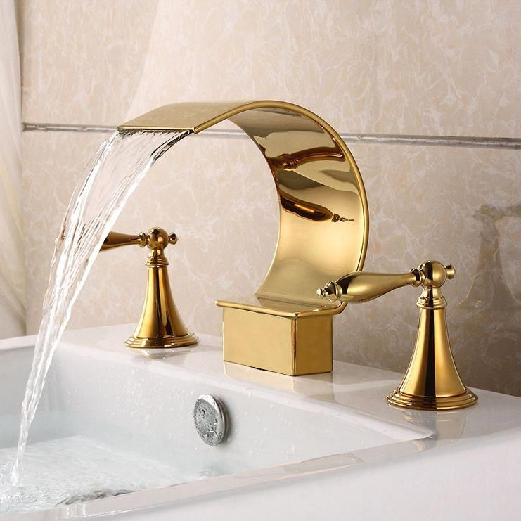 Mooni Waterfall Widespread Lever Handle Bathroom Sink Faucet in Glistening Gold