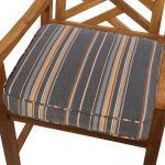 Mozaic Company 22.5 x 22.5 in. Sunbrella Striped Outdoor Square Deep Seat Patio Chair Cushion Berenson Tuxedo Stripe