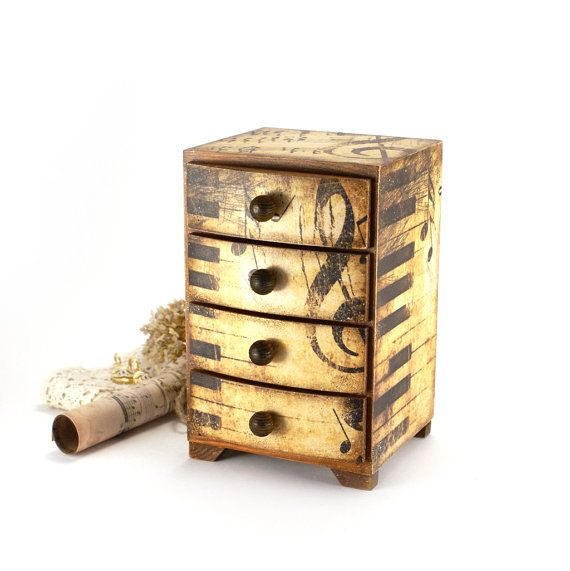 Music Gift Wooden Mini chest drawers jewelry organizer gift musician music style Vintage look decoupage Boho gift for singer music style