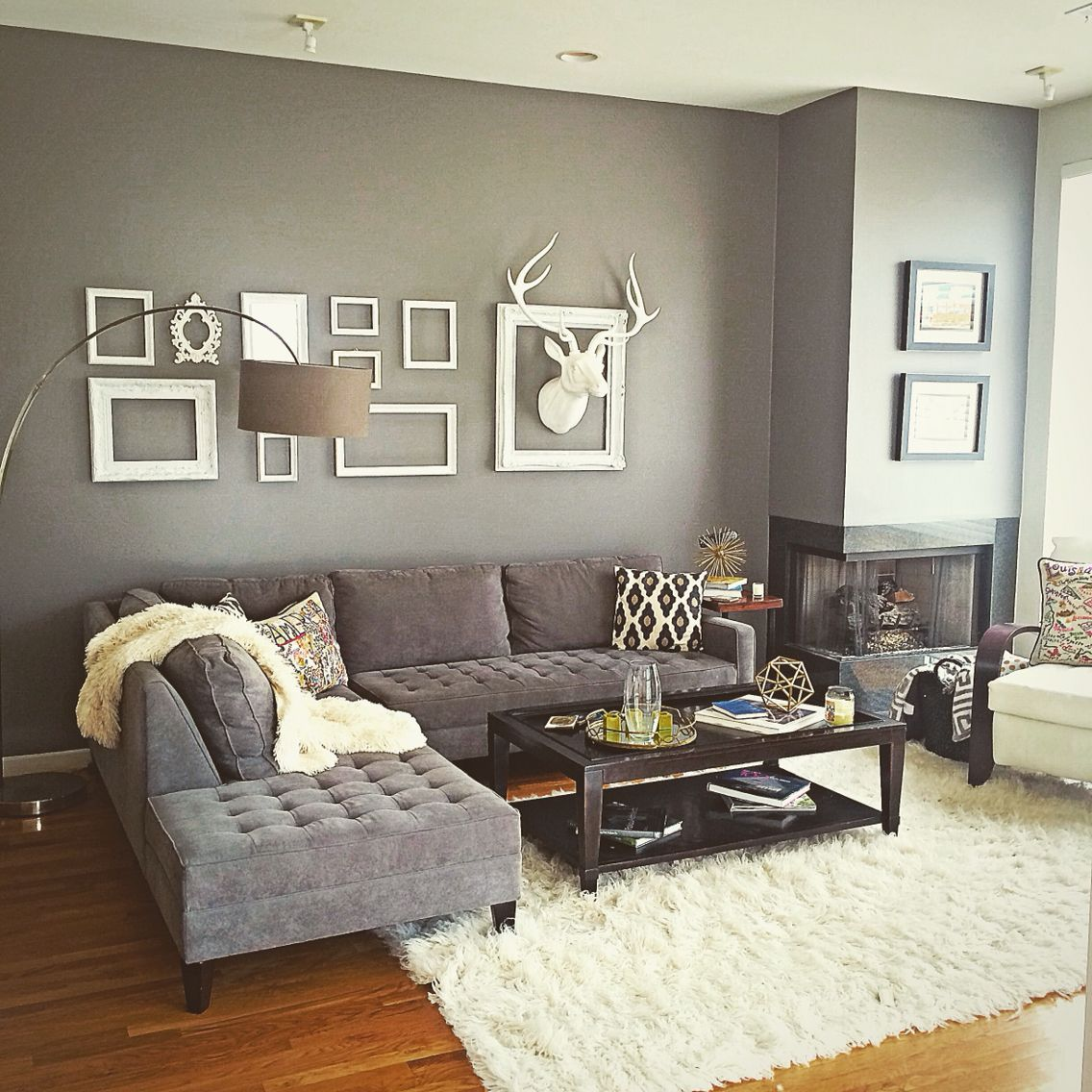 My dallas,Texas modern contemporary living room. Grey and white theme. Deer head…
