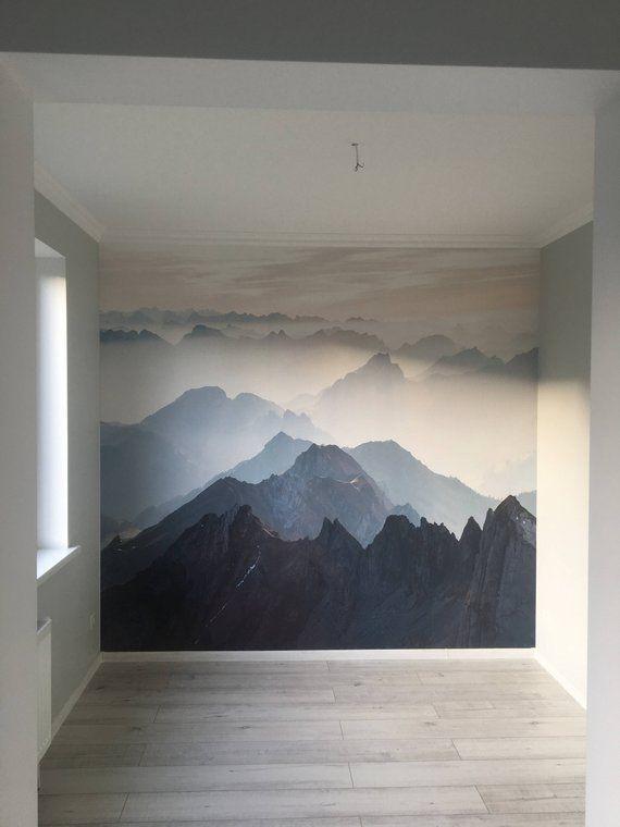 Mystical Mountains mural, Misty Mountain Shadow, Hazy Silhoutte Mountain mural, Wallpaper, Wall décor, Wall decal, Room décor, Wall art