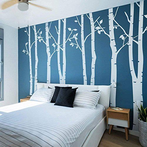 N.SunForest 7.8ft High White Birch Tree Vinyl Wall Decals Nursery Forest Family Tree Wall Stickers Art Decor Murals – Set of 8