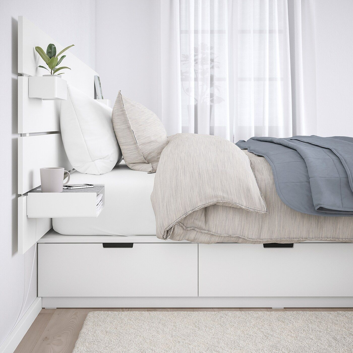 NORDLI Bed with headboard and storage – white – IKEA