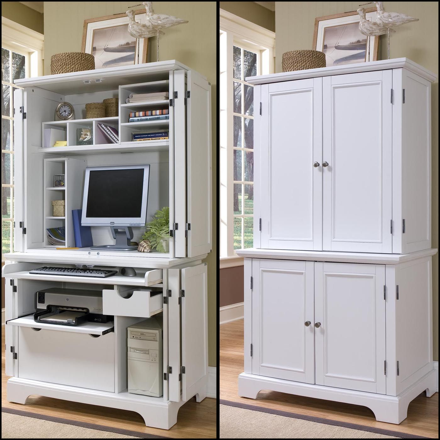 Naples Compact Computer Cabinet with Hutch by Home Styles, White Computer Armoir…
