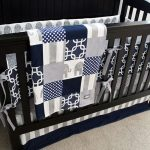 Navy Blue, Gray Boy Nursery Bedding Crib Set, Modern Geometric Bumper Pad, Minky Crib Sheet, Grey Striped and Solid Navy Skirt