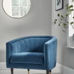 Navy Fluted Velvet Occasional Chair - pickndecor.com/furniture