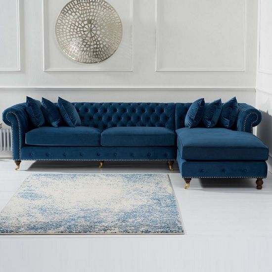 Nesta Chesterfield Right Corner Sofa In Blue Velvet | Furniture in Fashion