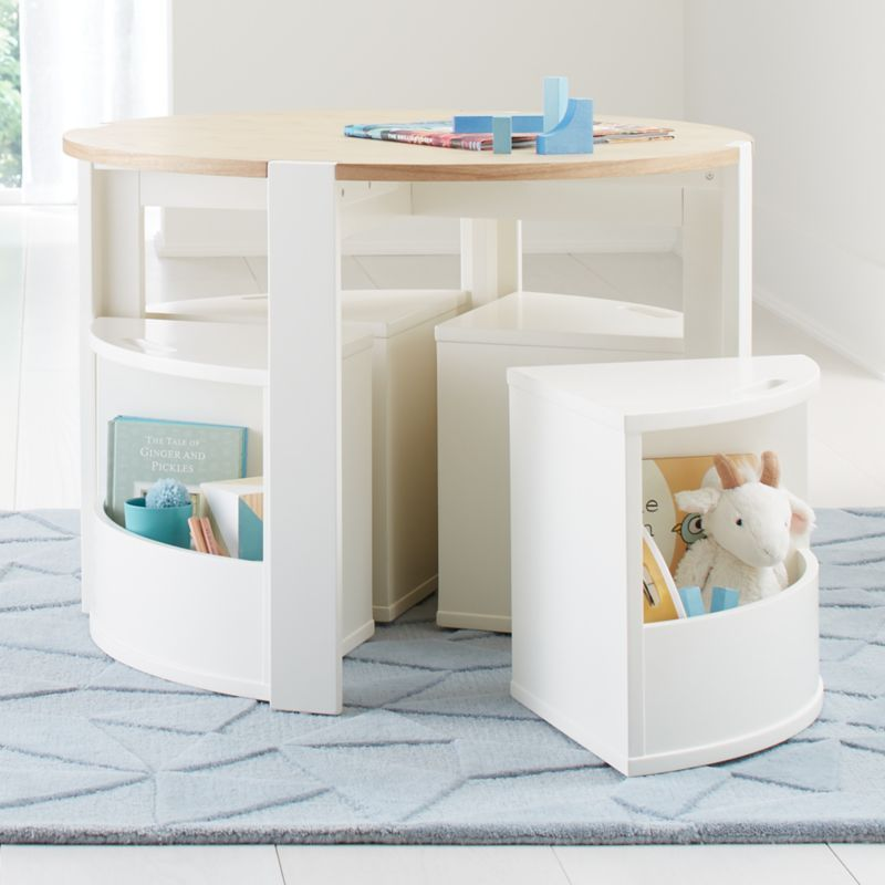 Nesting White and Natural Play Table and Chairs Set + Reviews | Crate and Barrel