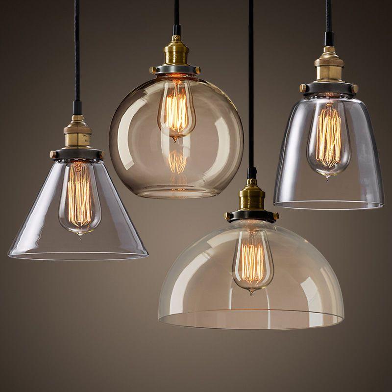 New Modern Vintage Industrial Retro Loft Glass Ceiling Lamp Shade Pendant Light  | eBay