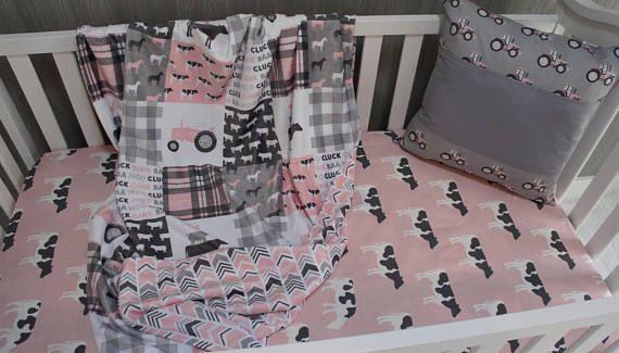 Nursery Bedding Set,Baby , Farm life , Cow , Barn , Farmer , Tractor ,Baby Bedding , Cowgirl ,  Crib Bedding , Babylooms