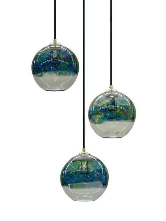 Ocean Banded Hand Blown Glass Pendant Light Chandelier Hanging Lights